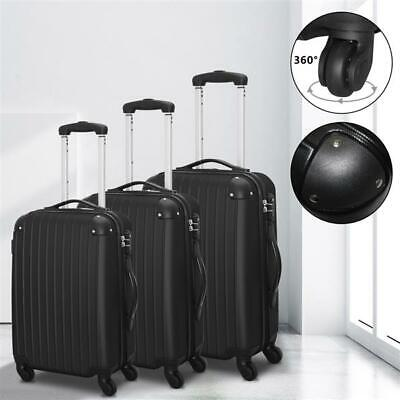 "Set of 3 20"" 24"" 28"" Luggage Set Travel Bag ABS Trolley Spinner Suitcase Black"