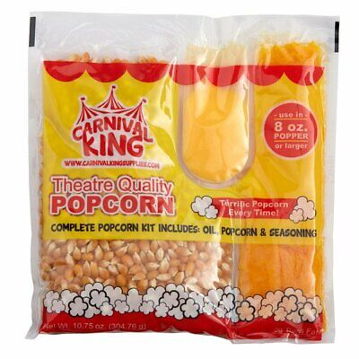 All In One Popcorn Kit 8 Oz to 10 Oz Poppers 24 Case Butter Large Butterfly Pop