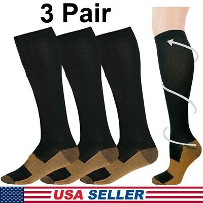 Copper Infused Compression Socks 20-30mmHg Graduated Men's Women's S-XXL 3 Pairs
