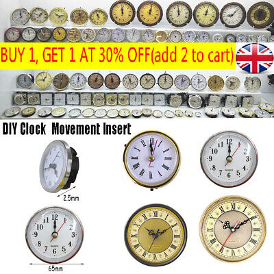"New Shellhard 2-1/2"" (65mm) Clock Insert Roman Numeral White Face Gold Trim UK"
