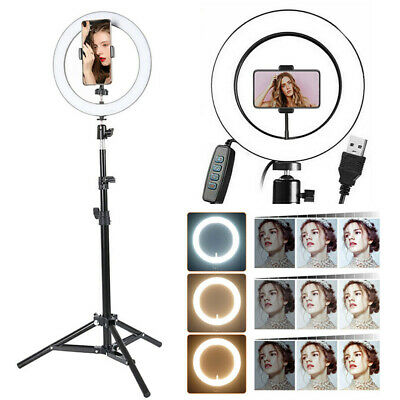 26CM LED Ring Light Dimmable Lighting Kit Phone Selfie Makeup Live Lamp +Tripod
