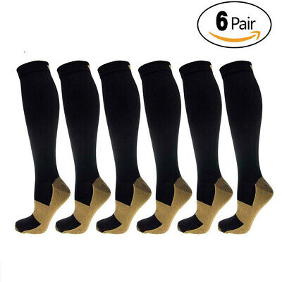 6 Pairs Compression Socks 20-30mmHg Graduated Men Women Copper Support S-XXL