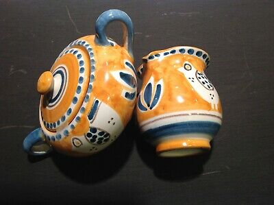 Handpainted, Italian Pottery Creamer and Lidded Sugar Bowl-Campagna Chicken