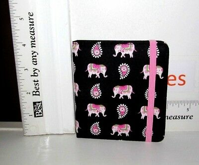 "Vera Bradley 4"" Mini Journal Notebook Pad Pink Elephant Stretch Band Close  Nwot"