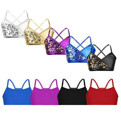 Girls Dance Gym Crop Tops Kids Child Sequins Bra Tank Top Camisole Vest Costumes