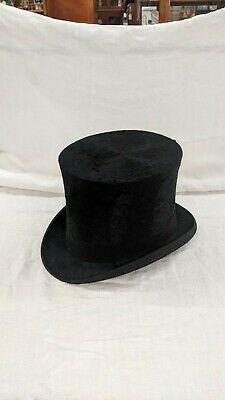 Top hat Victorian stove pipe rolled brim tall late 1800's or early 1900's