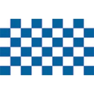 Blue /& White Check Chequered Checked Small 3Ft X 2Ft Flag Banner Sleeved