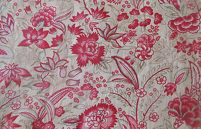 Antique French Indienne Strawberry Pink Floral Cotton Fabric ~