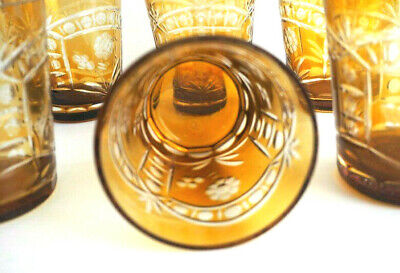 Glasses Dining Ornate Amber Carved Glass Tumblers - Set of Six