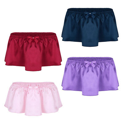 US Mens Shiny Satin Sissy Pouch Skirted G-string Thong Underwear Panties Gifts