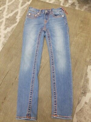 Kids True Religon jeans size 8 girls boys skinny jeans orange piping NWOT