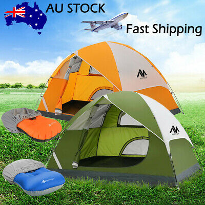 2-3 Person Lightweight Portable Backpacking Camping Tent + Inflatable Air Pillow