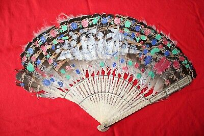 Antique Hand Painted Feather & Carved Cow Bone Hand Fan