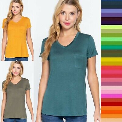 Women Relaxed Fit T-shirt Short Sleeve Solid V-Neck Rayon Top with Pocket *USA*
