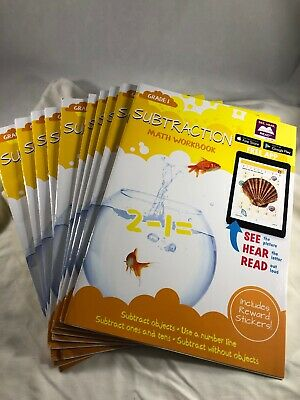 Lot of 10 Math Workbooks SUBTRACTION Grade 1 Includes Reward Stickers Free App