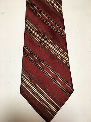 "Joseph Abboud ""JOE"" Mens Tie Brown Maroon Stripe 100% Silk Retro/Vintage Look"