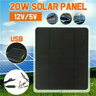 12V 20W Solar Panel Trickle Battery Charger Power Supply Car Boat Yacht Outdoor