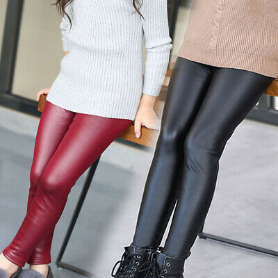 Girls Pants Kids Gaiters Faux Leather Fall Solid Trousers Slim Tight Leggings
