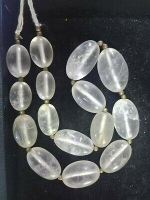 Antique Old Near Eastern XXL Oval Clear Rock Crystal LARGE 22-26mm Bead Necklace