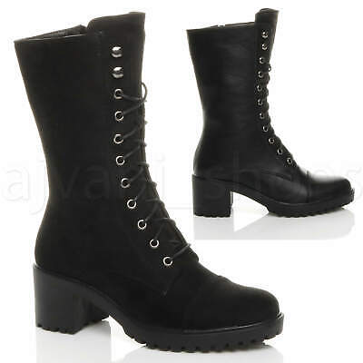 Womens Ladies Mid Block Heel Lace Up Combat Military Boots Shoes Size