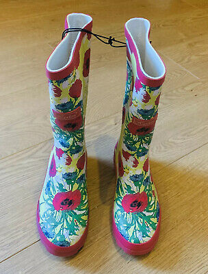 Bnwt Hawkins Girls Pink & Yellow Floral Country Style Wellington Boots Size 1