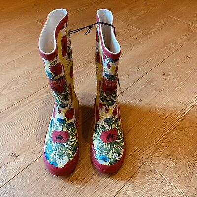 Nwot Hawkins Girls Pink & Yellow Floral Country Style Wellington Boots Size 3