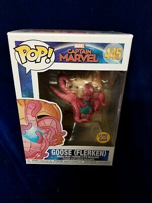 Funko pop 445 captain marvel goose flerken GITD ships in pop protector
