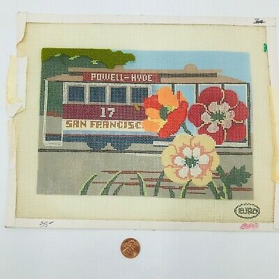 Hand Painted Needlepoint Pattern Canvas Powell Hyde San Francisco 17 Trolley