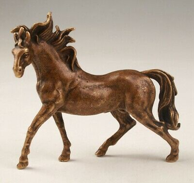 China Old Bronze Hand Carving Horse Animal Statue Figurine Colle Gift