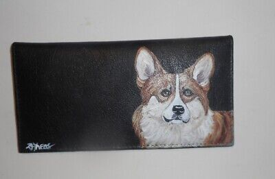 Welsh Corgi dog Hand Painted Leather Deluxe Checkbook Cover