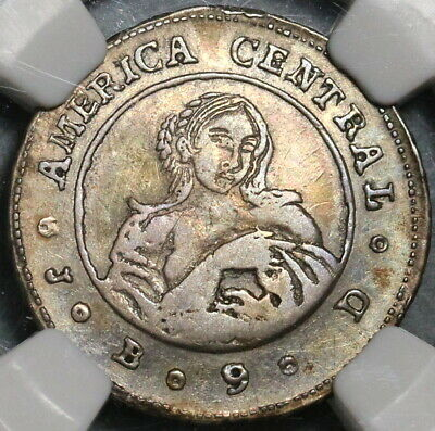 1849 NGC VF 35 Costa Rica 1 Real Coffee Tree & Woman Silver Coin (20010901C)