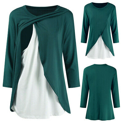 Women Long Sleeve Maternity T-Shirt 3/4 Sleeve Breastfeeding Nursing Casual Tops