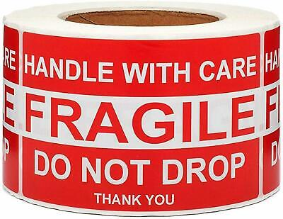 Large Fragile Stickers 4'' x 6'' Eye-catching Fragile Handle with Care Sticker