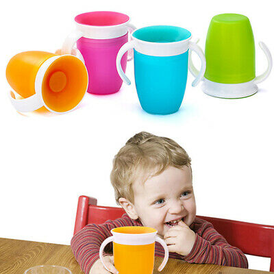 Cup Flip Lid 360 Degrees Rotated With Double Handle Safe Leakproof Infant