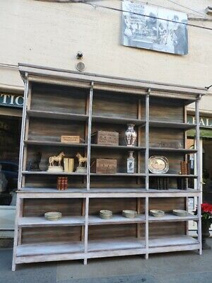 Antique Large Furniture Bookcase a Day from '800 Lacquer Grey Azure Blue France