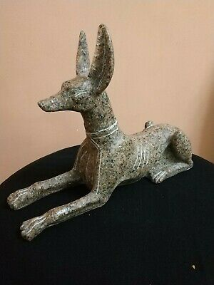 Antique  Anubis Ancient Egyptian God of the Afterlife Figurine Granite bc