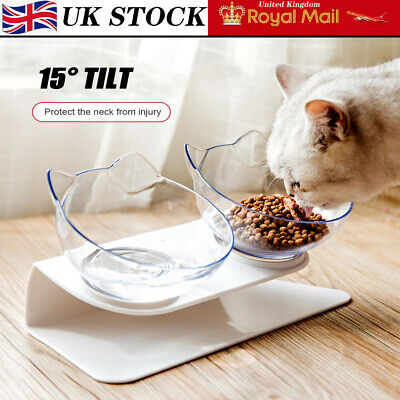 Cat Double Bowls with Raised Stand Pet Food Water Bowl Dog Feeder Dual Angle UK~