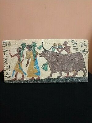 ANCIENT EGYPT ANTIQUE Egyptian plaque Hathor as a cow Stela Relief wood