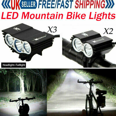 Rechargeable LED Mountain Bike Lights 18650 Bicycle Torch Front /& Rear Lamp Set