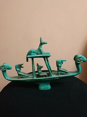RARE Antique ANCIENT EGYPTIAN HORUS & ANUBIS After Life Boat 1658-1455 BC
