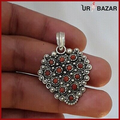 Old Vintage Antique Handmade Silver Pendant With Red Beads Ethnic Jewelry Maroc