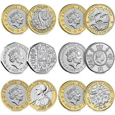 2020 UK Brilliant Uncirculated Royal Mint Commemorative Annual Coins £2 £5 50p