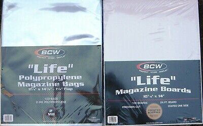 (100) Bcw Life Magazine Size Bags / Covers & Backing Boards