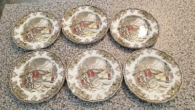 6 Bread & Butter Plates Friendly Village Made in England 6 1/4 inch Sugar Maples