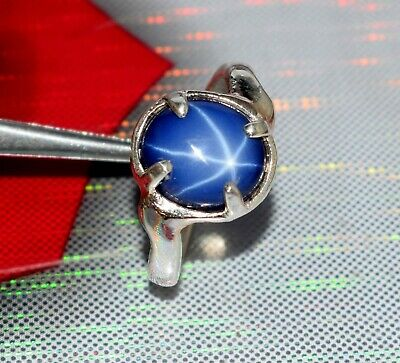 Oval 3-5 Ct Natural Star Blue Sapphire 925 Sterling Silver Gemstone Unisex Ring