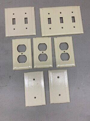 Lot of 7 Vintage Uniline Outlet Bakelite Switch Cover Ribbed Lines Ivory Salvage