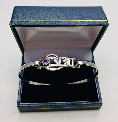 Vintage Jewellery Sterling Silver Scottish/Mackintosh Deisgn Amethyst Bangle