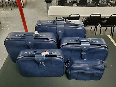 Vintage American Tourister 5 Piece Luggage Set BLUE Soft Side Suitcase Tote Bag
