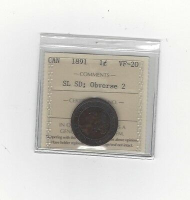 **1891 SL/SD Obv. #2**,ICCS Graded Canadian, Large One Cent, **VF-20**