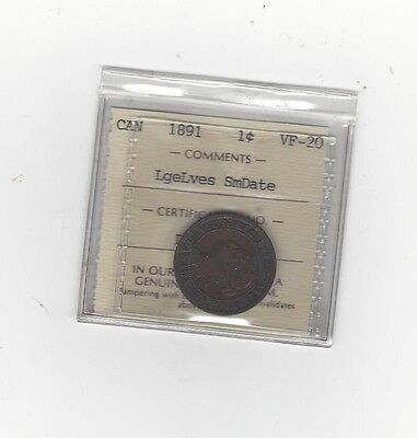 **1891 LL/SD Obv. #3**,ICCS Graded Canadian, Large One Cent, **VF-20**